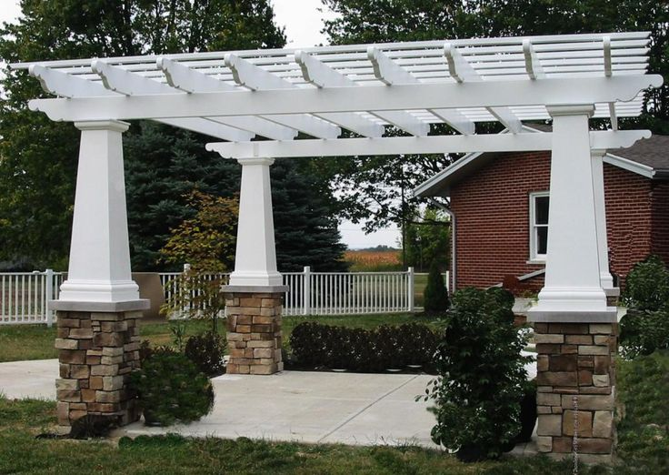 Custom pergola design 5020 exterior custom garden for Exterior house columns design