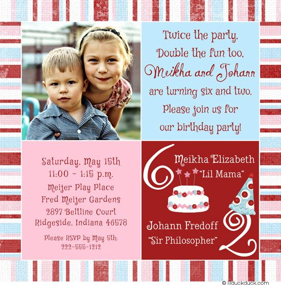 Sibling Birthday Party Invitation - Pink & Blue Single Photo Design