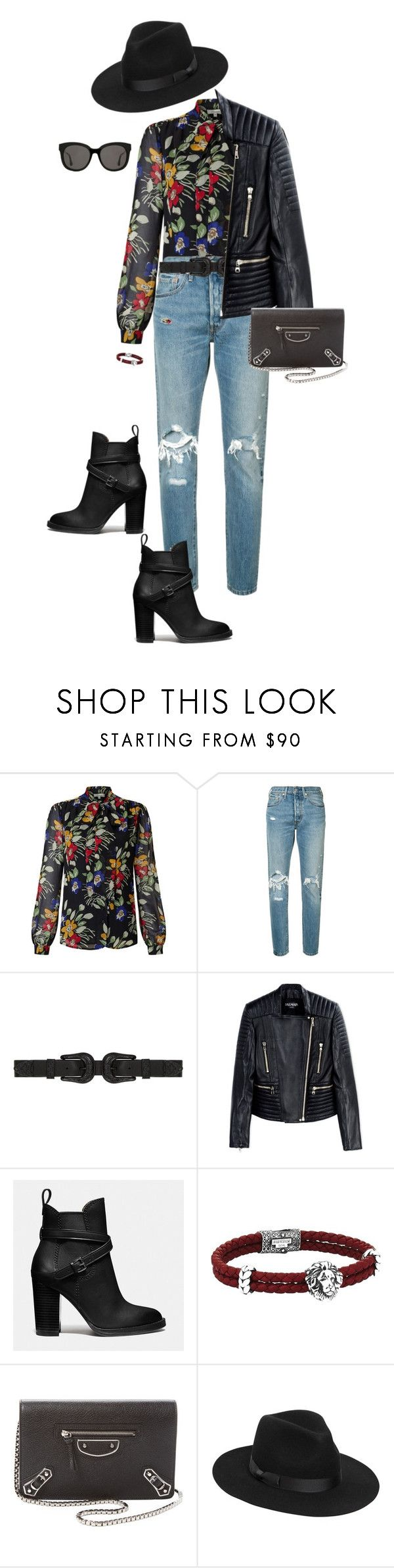 """Sparks"" by ccoss ❤ liked on Polyvore featuring Somerset by Alice Temperley, Levi's, B-Low the Belt, Balmain, Coach, Balenciaga, Lack of Color and Gentle Monster"