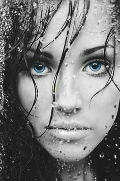 Black and white female popofcolor blue eyes