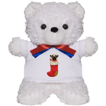 Christmas Pug Teddy Bear from cafepress store: AG Painted Brush T-Shirts. #pug #bear #toy #Christmas