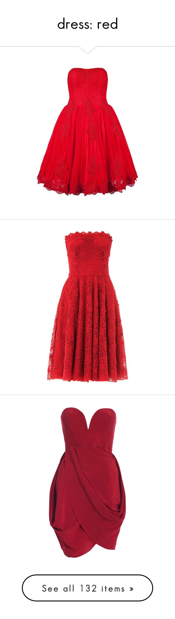 """dress: red"" by menchu10 ❤ liked on Polyvore featuring dresses, vestidos, red, red dresses, ted baker dresses, ball dresses, red lace cocktail dress, fitted cocktail dresses, beaded dress and short dresses"