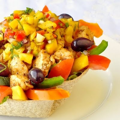 Low Fat Chicken Taco Salad with Mango SalsaLow Fat, Chicken Salad, Chicken Tacos, Fat Chicken, Tacos Salad, Mango Salsa, Taco Salads, Food Photo, Chicken Breast