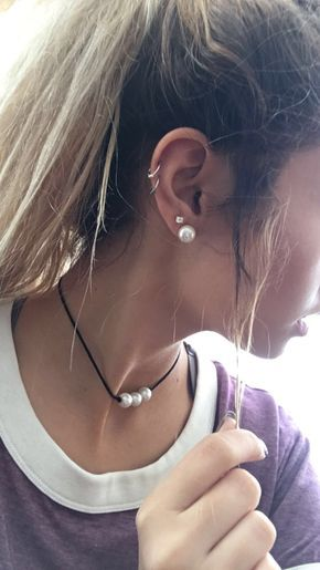 Double cartilage ear piercing idea