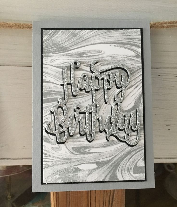 Happy Birthday Thinlits is a must for a quick & wow card.  The first one uses the Marbled background stamp inked in Smokey Slate & the se...