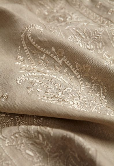 Jaipur Linen Embroidery in Flax, 65800 #aromabotanical
