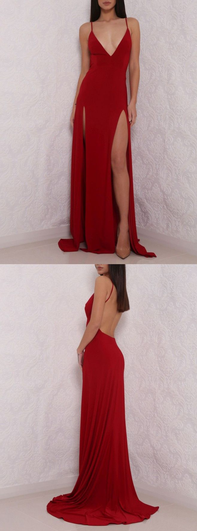 Sexy Deep V Neck Red Prom Dress,High Slit Prom Dress, Sexy Backless Gown, Backless Evening Dress,Prom Formal Dress,Woman Dress - Thumbnail 1