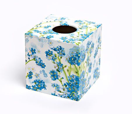 Forget Me Knot Tissue Box from Crackpots Tissue boxes and Bins - wooden hand decoupaged