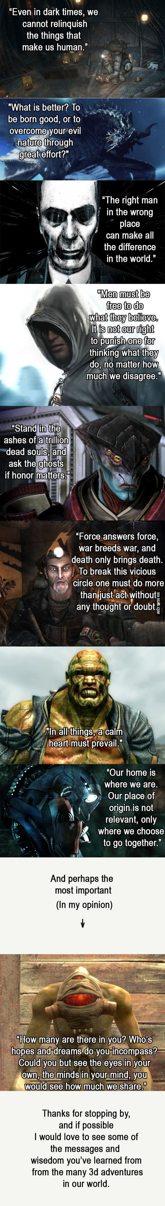 When gaming quotes get deep.