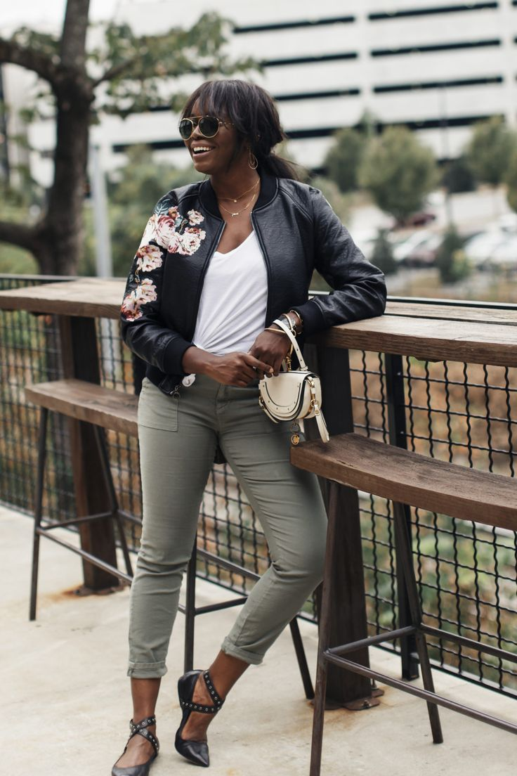 Joie Painter Pant + Blank NYC Floral Leather Bomber Jacket + White Chloe Nile Bag | MILLENNIELLE Lifestyle & Fashion Blog