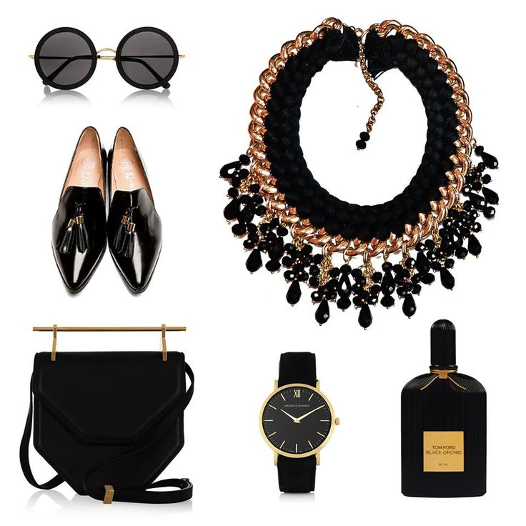 - black & gold style with Fire de Murg necklace -