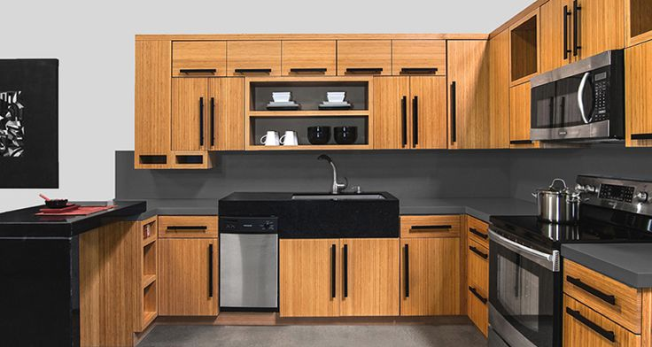 Slab Bamboo Cabinets | Bamboo Kitchen Cabinets Online