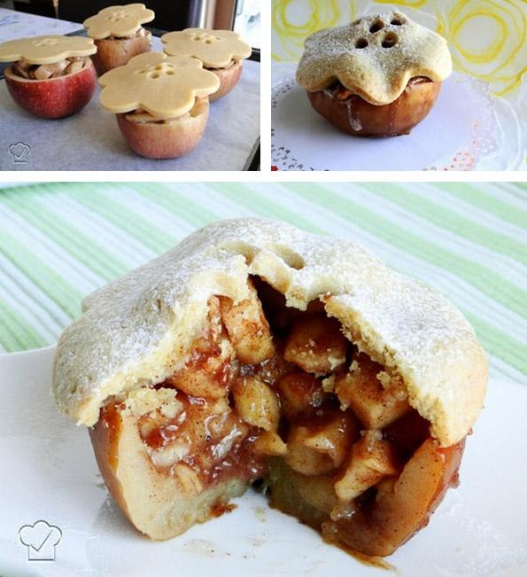 Receita de Tortinhas de maçã assadas nas maçãs! - Receitas