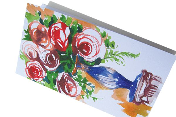Roses in a vase. Hand made watercolor greeting card. Make a gift worth opening and card worth holding.