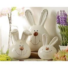 Terra Cotta Bunny, Set of 3 Could be cute as a piggy bank...