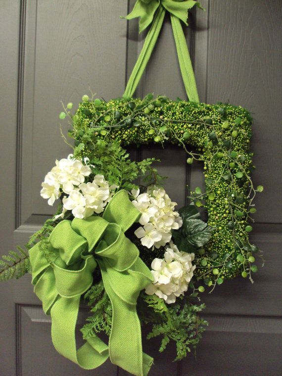 Items similar to Hydrangea Wreath, Summer Wreath, Front Door Wreath, Square Wreath. Bridal Wreath, Wedding Wreath, Green Burlap Bow on Etsy