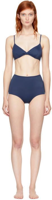 Solid and Striped Navy The Brigitte High-Waisted Bikini