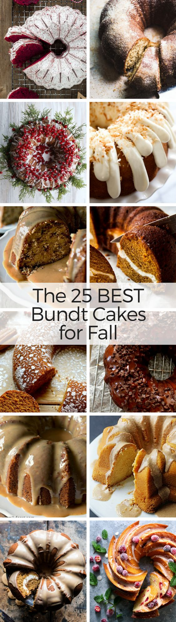 What to Bake Now: Bundt Cakes ~ what's not to love about a bundt? They're nice and homey, easy to throw together, pretty enough for company, and so darned delicious. Here are 25 of my favorite bundt cakes for fall, plus some essential tips and tricks to help you master the art of the perfect bundt ~ #cake #fallcake #bestbundtcakes #dessert #falldessert #pumpkincake #chocolatecake #coffeecake
