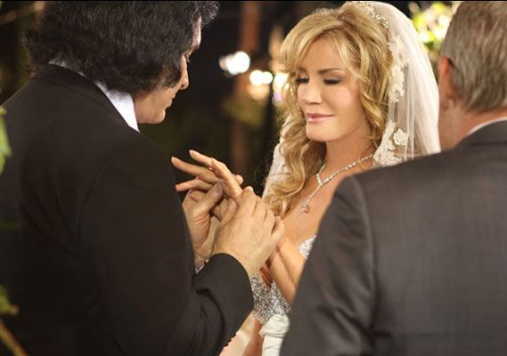 Gene Simmons and Shannon Tweed Wedding - The couple of 28 years exchanged vows on the Crystal Lawn at the Beverly Hills Hotel in front of 400 guests.