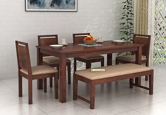 Orson Compact 6 Seater Dining Set With Bench Walnut Finish