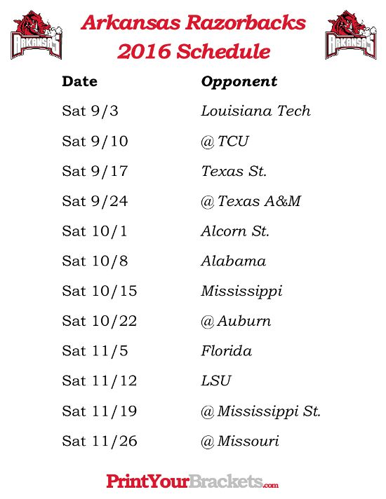 Printable Arkansas Razorbacks Football Schedule 2016