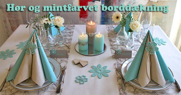 mint og hørfarvet borddækning
