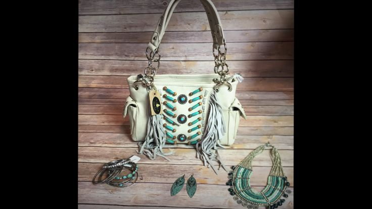 White Leather and Turquoise Purse with Tassels - CONCEALED CHL Purse