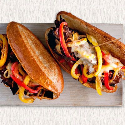 Roast the beef for these cheesesteaks in advance, then assemble with caramelized onions, peppers, and melted provolone just before your guests arrive. Get the recipe from Delish.