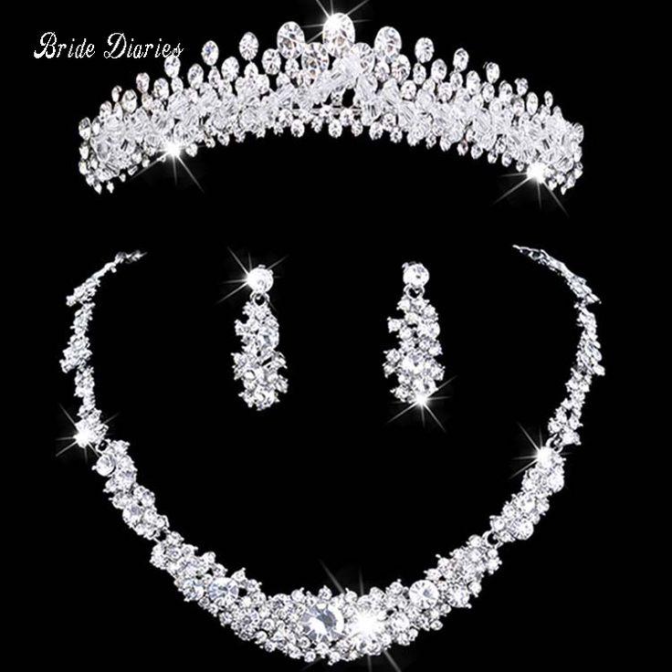 Gioielli da sposa tiara collana e orecchino set Corona di Strass Tiara Nuziale Accessori Da Sposa gioielli di cristallo