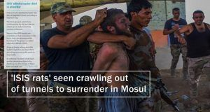 'ISIS rats' seen crawling out of tunnels to surrender in Mosul -Video