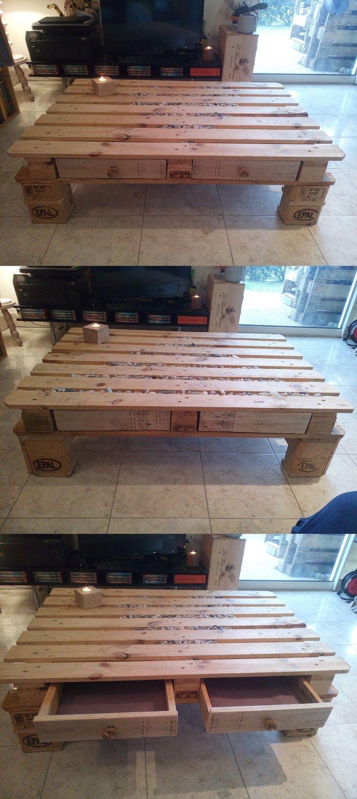 Fabulous table basse DIY en palette double face pieds et tiroirs personnalisable avec