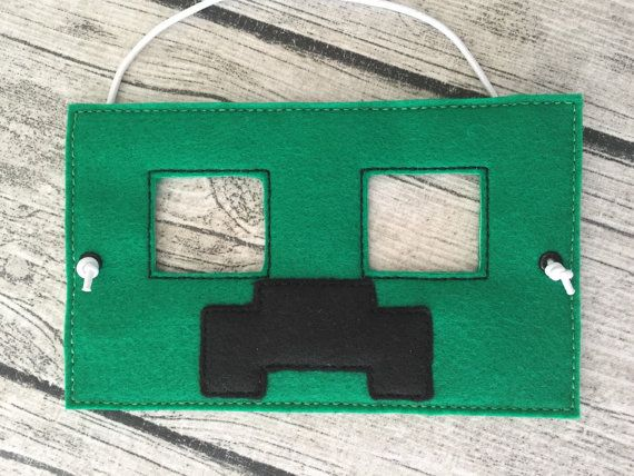 Creeper from Minecraft Inspired Mask by MMEmbroideredGifts on Etsy