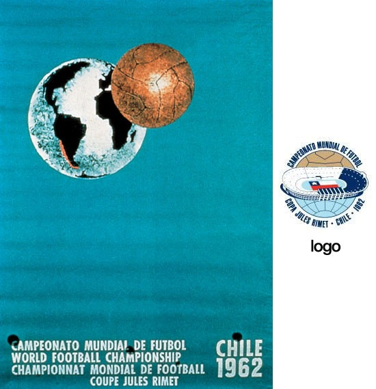Cartel oficial de la Copa del Mundo Chile 1962 diseñado por el artista Galvarino Ponce Morel / Official poster of the FIFA World Cup Chile 1962 designed by artist Galvarino Ponce Morel
