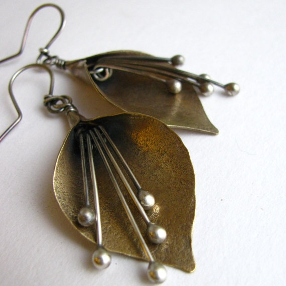 Lily earrings bronze and argentium sterling silver mixed for C leslie smith jewelry