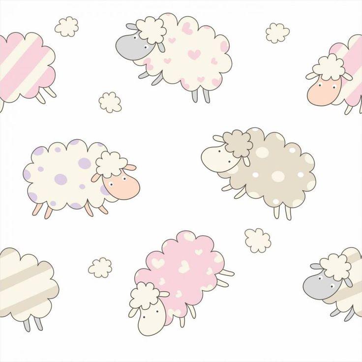 Papel de parede infantil animais ovelhas 026