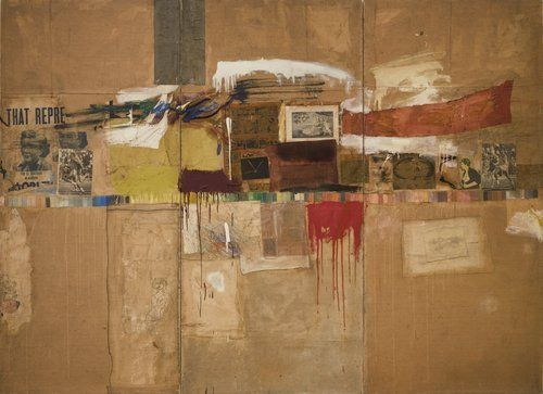 """Rebus  Robert Rauschenberg (American, 1925-2008)    1955. Oil, synthetic polymer paint, pencil, crayon, pastel, cut-and-pasted printed and painted papers, and fabric on canvas mounted and stapled to fabric, three panels, 8' x 10' 11 1/8"""" (243.8 x 333.1 cm). Partial and promised gift of Jo Carole and Ronald S. Lauder and purchase. Art © Robert Rauschenberg/ Licensed by VAGA, New York, NY  243.2005.a-c"""