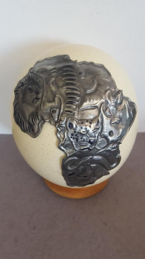 Buy Big 5 wild animals, Africa, Handcrafted Pewter Art on Ostrich egg for R250.00