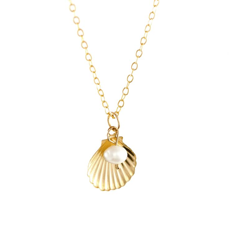 Gold Shell & Pearl Necklace. By Lily King