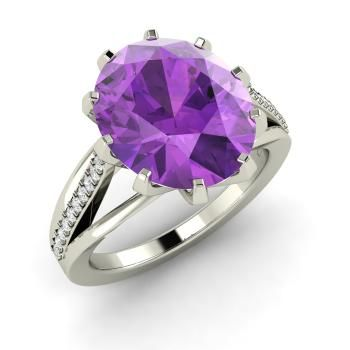 Oval-Cut Amethyst  and Diamond  Cocktail Ring in 14k White Gold
