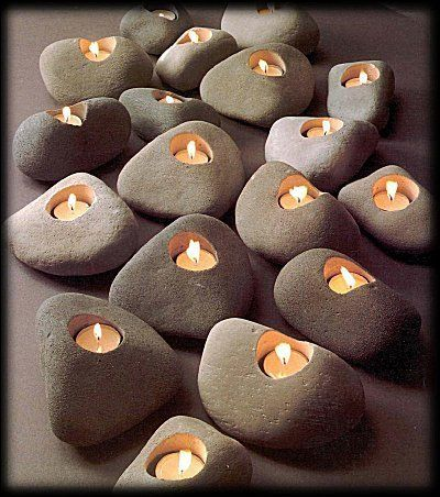 Concretus Earth Lights Rock Candles - Set of 3 votive holders in natural shades of gray : Rock Candles