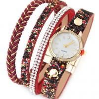Diamond Round Dail Watch  Red