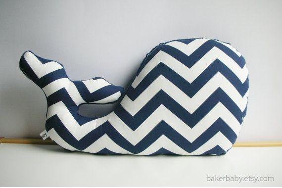 Whale Pillow Modern Nautical Nursery Decor navy by bakerbaby, $30.00 - make my own with accent colors