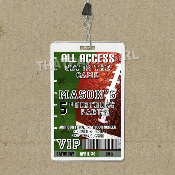 Football Birthday Party VIP PASS Style Invitations by thatpartygirl on Etsy