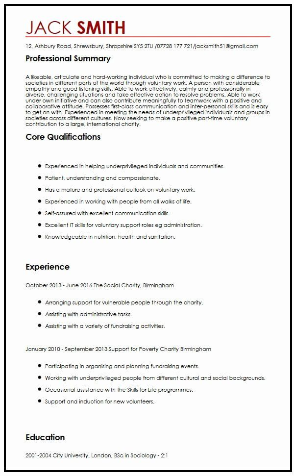 Volunteer Experience Resume Example Lovely Cv Sample For Volunteering Myperfectcv In 2020 Resume Examples Good Resume Examples Resume Objective Examples