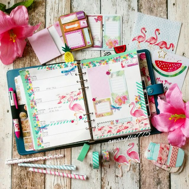 creative pages by amaryllis775  filofaxing  flamingo