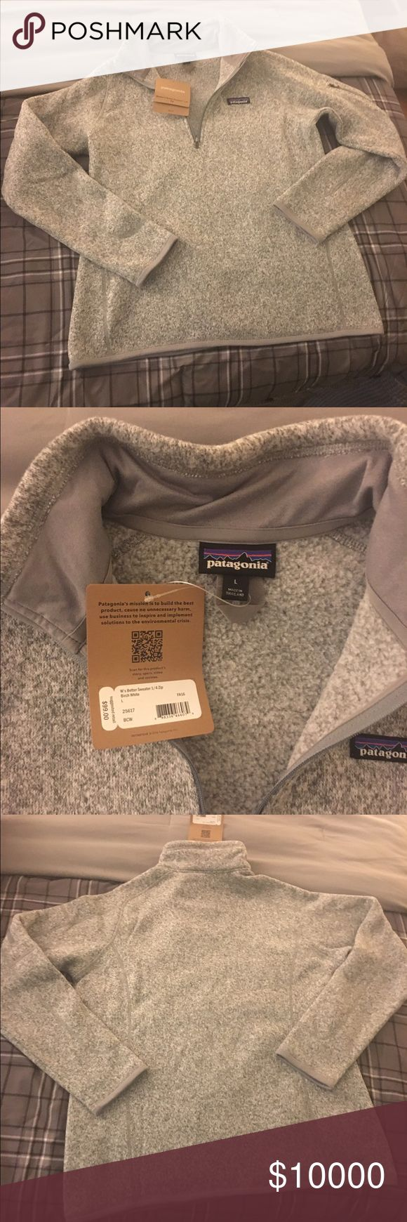 NWT Patagonia Better Sweater ¼ Zip Color is Birch White (basically light gray) Patagonia Tops Sweatshirts & Hoodies