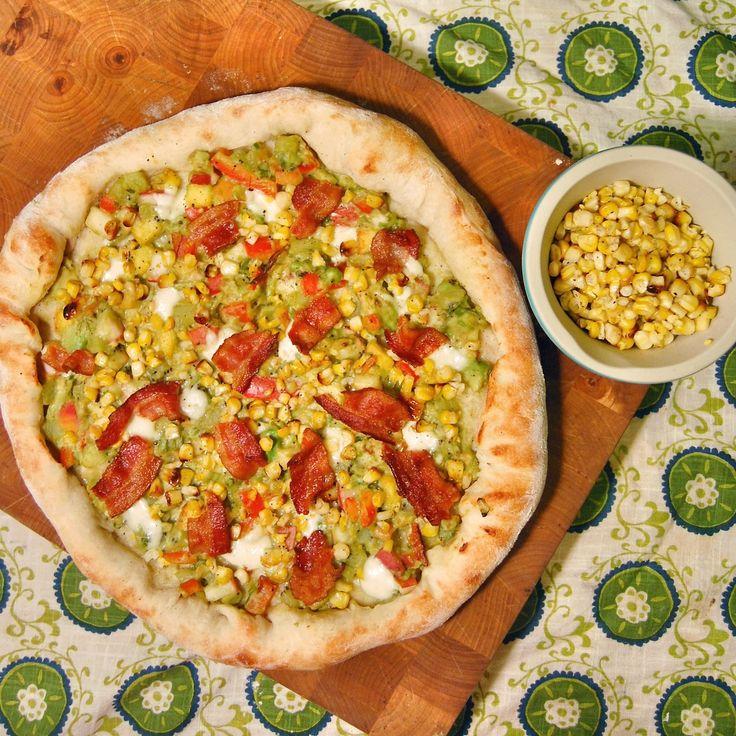 : Buffalo mozzarella, roasted corn, bacon, kiwi salsa with avocado ...