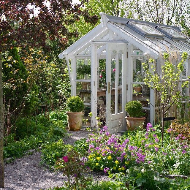 Sweet white wood cottage greenhouse-Check this out on ...