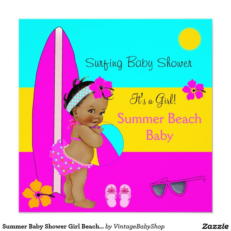 Summer Baby Shower Girl Beach Baby Surfing Ethnic Card