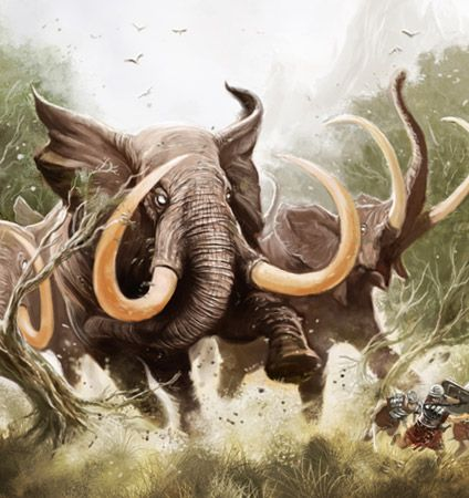 Illustration of a group of angry stampeding Elephants by Dede Putra
